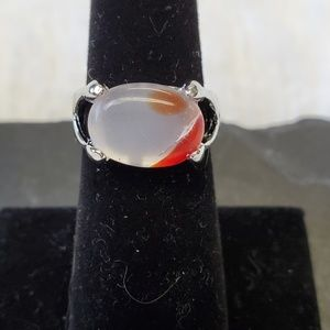 Natural Stone Ring with White & Orange Stone